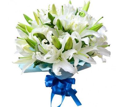 """""""Bouquet of 7 white lilies flowers"""" in the online flower shop vambuket.com"""