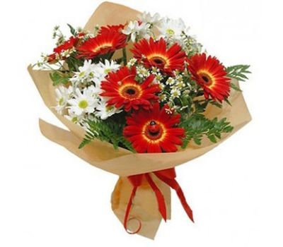 """""""Bouquet of 7 gerberas and 4 chrysanthemums"""" in the online flower shop vambuket.com"""