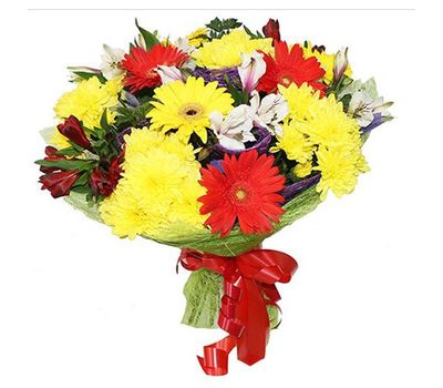 """Bouquet of flowers of 4 gerberas, 3 chrysanthemums and 4 alstroemerias"" in the online flower shop vambuket.com"