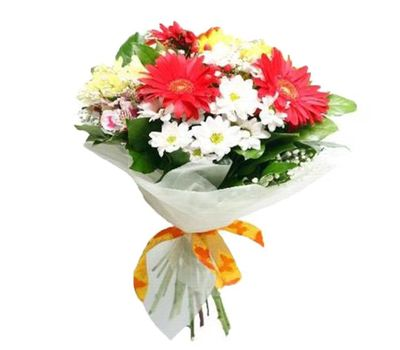 """Bouquet of flowers from 3 gerberas, 5 chrysanthemums and 3 alstroemerias"" in the online flower shop vambuket.com"