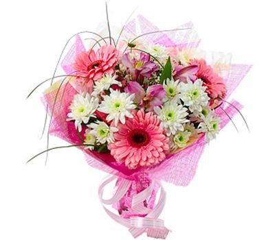 """Bouquet of flowers from 3 gerberas, 3 chrysanthemums and 3 alstroemerias"" in the online flower shop vambuket.com"
