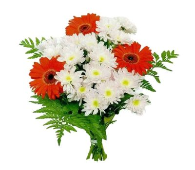 """""""Bouquet of flowers from 4 gerberas and 3 chrysanthemums"""" in the online flower shop vambuket.com"""