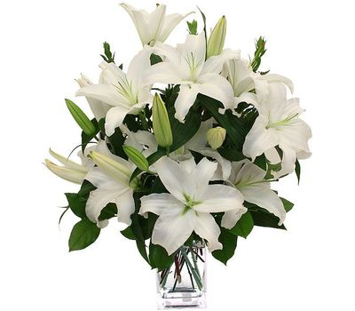 """""""Bouquet of flowers of 5 white lilies"""" in the online flower shop vambuket.com"""