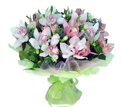 """""""Bouquet of flowers from 19 flowers of white and pink orchids"""" in the online flower shop vambuket.com"""