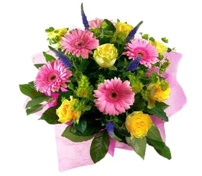 """""""Bouquet of flowers from 9 roses and 6 gerberas"""" in the online flower shop vambuket.com"""