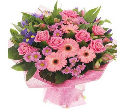 """""""Bouquet of flowers of 9 roses, 6 gerberas, 5 chrysanthemums and 3 alstroemerias"""" in the online flower shop vambuket.com"""