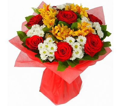"""""""Bouquet of 7 roses, 6 chrysanthemums and 6 alstroemerias"""" in the online flower shop vambuket.com"""