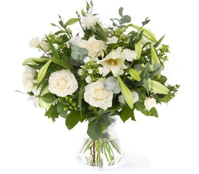 """""""Bouquet of flowers from 9 roses, 1 lilies and 5 chrysanthemums"""" in the online flower shop vambuket.com"""