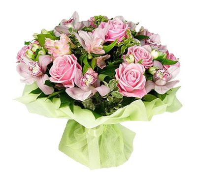 """Bouquet of flowers of 11 roses, 9 orchids and 7 alstroemerias"" in the online flower shop vambuket.com"