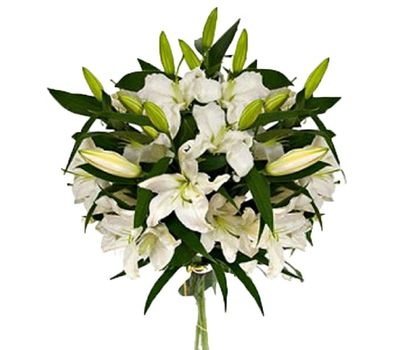 """""""Bouquet of flowers from 3 white lilies"""" in the online flower shop vambuket.com"""