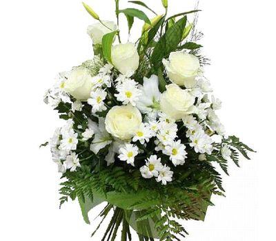 """""""Букет цветов из 6 роз, 6 хризантем и 1 лилии"""" в интернет-магазине цветов vambuket.com"""