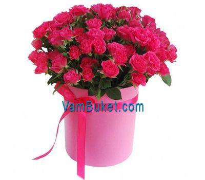 """""""Розовые кустовые розы в круглой коробке"""" в интернет-магазине цветов vambuket.com"""