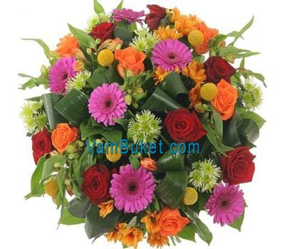 """Bouquet of 14 roses, 7 gerberas, 3 chrysanthemums and 5 alstroemeria"" in the online flower shop vambuket.com"