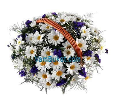 """Basket of flowers from 13 chrysanthemums"" in the online flower shop vambuket.com"