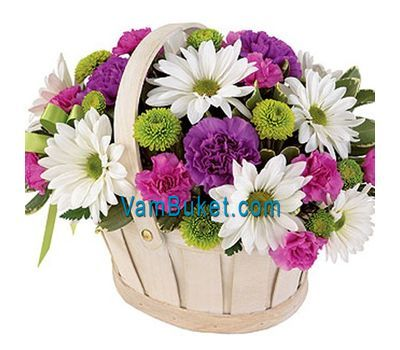 """Basket of flowers from 8 chrysanthemums and 9 carnations"" in the online flower shop vambuket.com"