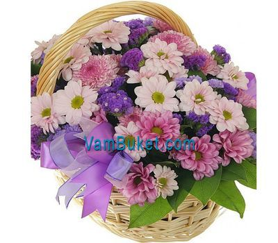 """Basket of flowers from 13 multi-colored chrysanthemums"" in the online flower shop vambuket.com"