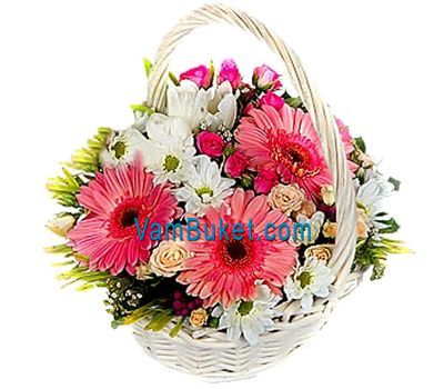 """""""Basket of flowers from 3 gerberas, 6 roses and 5 chrysanthemums"""" in the online flower shop vambuket.com"""
