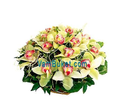"""""""Basket of flowers from 19 orchid flowers"""" in the online flower shop vambuket.com"""