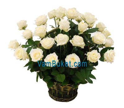 """Basket of flowers of 29 white roses"" in the online flower shop vambuket.com"