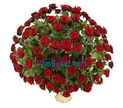 """Basket of flowers from 101 red roses"" in the online flower shop vambuket.com"