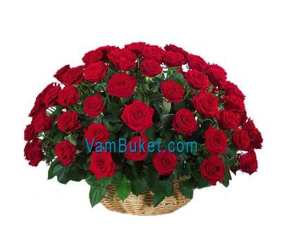 """""""Basket of flowers from 51 red roses"""" in the online flower shop vambuket.com"""