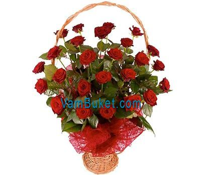 """Basket of flowers of 25 red roses"" in the online flower shop vambuket.com"