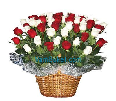 """Basket of flowers from 45 imported roses"" in the online flower shop vambuket.com"