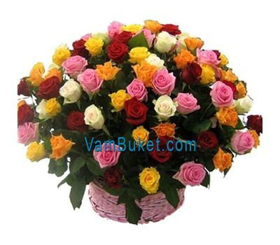 """Basket of flowers from 75 multi-colored roses"" in the online flower shop vambuket.com"
