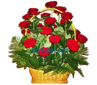 """""""Basket of flowers from 21 red roses"""" in the online flower shop vambuket.com"""