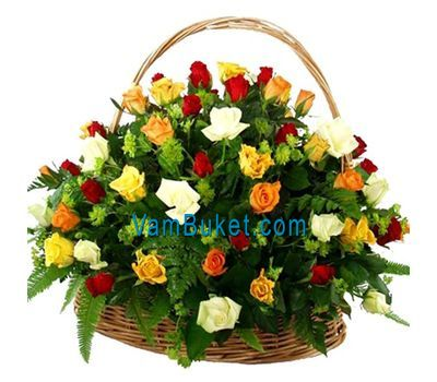 """""""Basket of flowers from 51 multi-colored roses"""" in the online flower shop vambuket.com"""