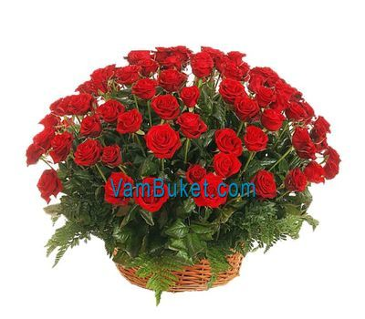 """Basket of flowers from 75 red roses"" in the online flower shop vambuket.com"