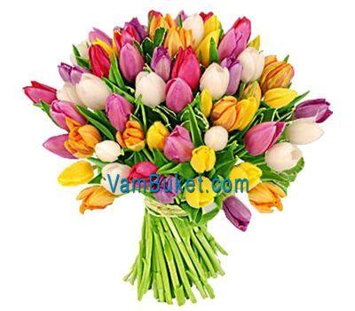 """""""Букет из 75 разноцветных тюльпанов"""" в интернет-магазине цветов vambuket.com"""