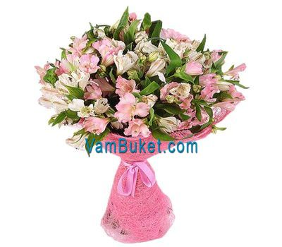 """Bouquet of 21 white and pink alstroemeria"" in the online flower shop vambuket.com"
