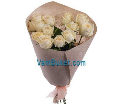 """Bouquet of 13 white roses"" in the online flower shop vambuket.com"