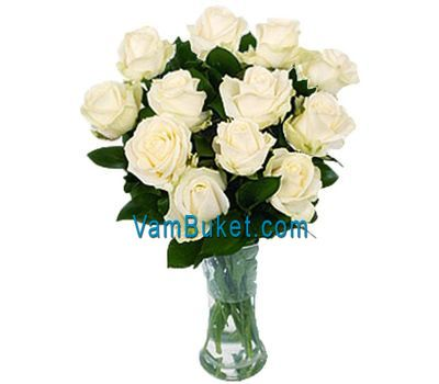 """Bouquet of 11 white roses"" in the online flower shop vambuket.com"