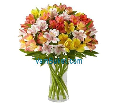 """Bouquet of 19 multicolored alstromeries"" in the online flower shop vambuket.com"
