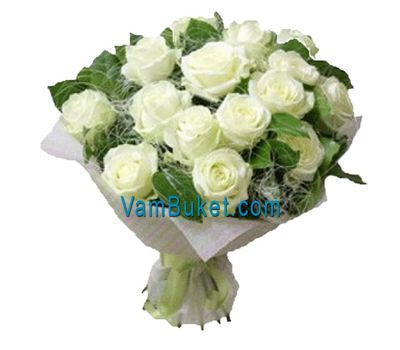 """Bouquet of 17 white roses"" in the online flower shop vambuket.com"