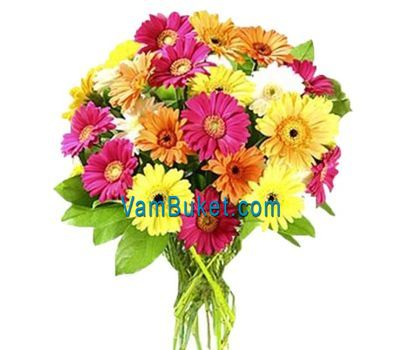 """Bouquet of flowers from 31 different gerberas"" in the online flower shop vambuket.com"