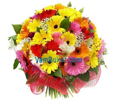 """Bouquet of flowers from 35 multi-colored gerberas"" in the online flower shop vambuket.com"