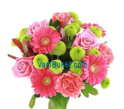 """Bouquet of flowers from 3 roses, 5 gerberas, 3 chrysanthemums and 4 carnations"" in the online flower shop vambuket.com"
