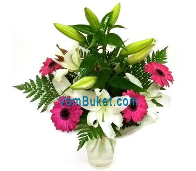"""Bouquet of flowers from 5 gerberas and 2 lilies"" in the online flower shop vambuket.com"