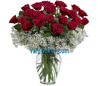 """Bouquet of 25 red roses flowers"" in the online flower shop vambuket.com"
