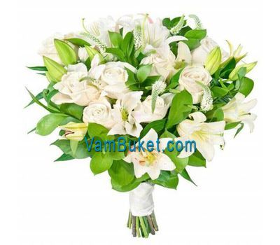 """Bouquet of flowers from 4 lilies and 11 roses"" in the online flower shop vambuket.com"