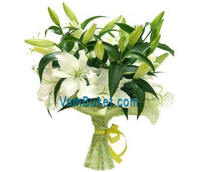"""Bouquet of flowers from 2 yellow and 1 pink lily"" in the online flower shop vambuket.com"