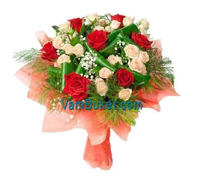 """Bouquet of flowers 10 red and 7 cluster roses"" in the online flower shop vambuket.com"