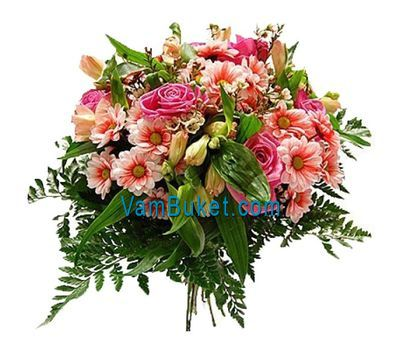 """Bouquet of flowers from 5 roses, 5 chrysanthemums and 3 alstroemerias"" in the online flower shop vambuket.com"