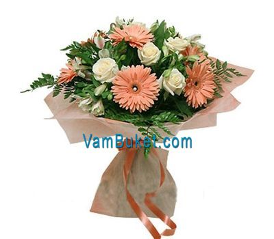 """Bouquet of 7 roses, 7 gerberas and 7 alstroemerias"" in the online flower shop vambuket.com"