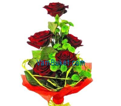 """Bouquet of flowers from 5 roses and 4 chrysanthemums"" in the online flower shop vambuket.com"