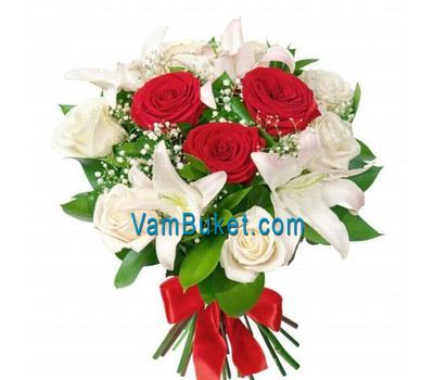 """Bouquet of flowers from 9 roses and 2 lilies"" in the online flower shop vambuket.com"