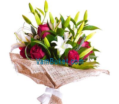 """Bouquet of flowers from 15 roses and 2 lilies"" in the online flower shop vambuket.com"